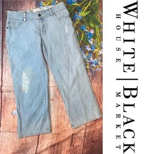 WHBM Blanc Cropped Light Wash Jeans Silver Threads